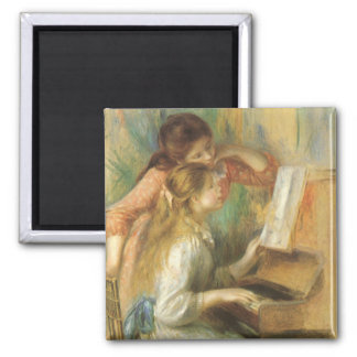Vintage Fine Art, Young Girls at Piano by Renoir Square Magnet