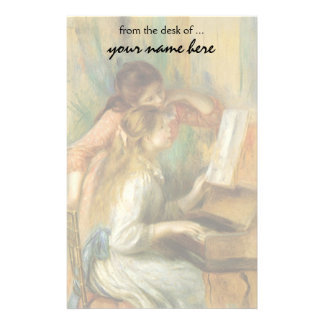 Vintage Fine Art, Young Girls at Piano by Renoir Stationery Paper