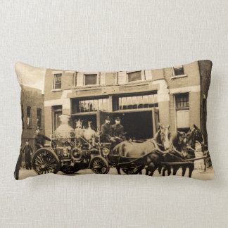 Vintage Fire Company Horse Drawn Fire Engine Cushion