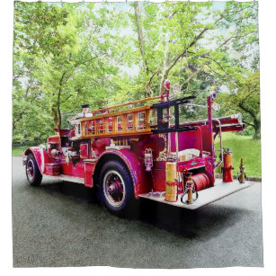 Vintage Fire Engine Shower Curtain