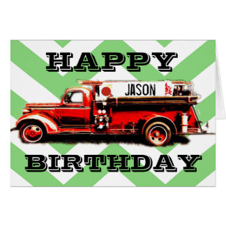 Vintage Fire Truck Birthday Card