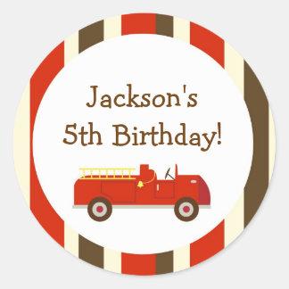 Vintage Fire truck Birthday Favor Sticker label