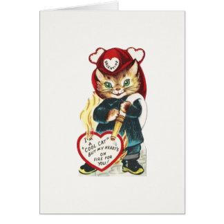 Vintage Firefighter Cat Valentine Card
