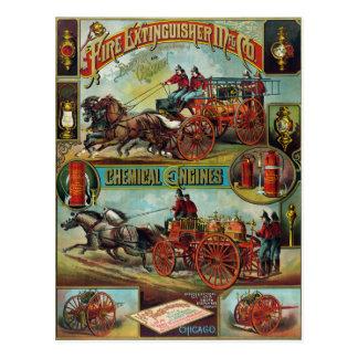 Vintage Firefighter Fire Extinguisher Advertising Postcard