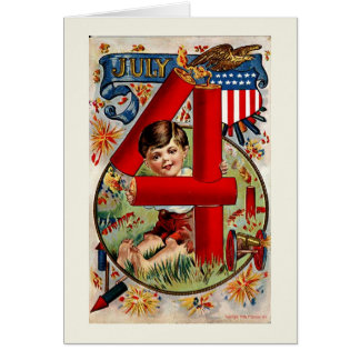 Vintage Fireworks Fourth of July Greeting Card