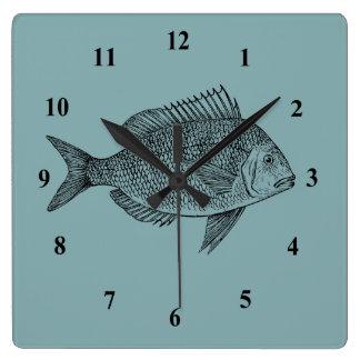 Vintage fish illustration square wall clock