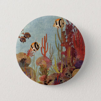 Vintage Fish in Ocean, Tropical Coral Angelfish 6 Cm Round Badge