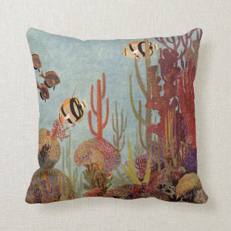 Vintage Fish in Ocean, Tropical Coral Angelfish Cushion