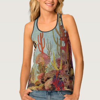 Vintage Fish in Ocean, Tropical Coral Angelfish Singlet