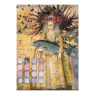 Vintage Fish Pisces Woman Renaissance Gothic Whims 11 Cm X 16 Cm Invitation Card