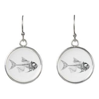 Vintage fish skeleton etching earrings