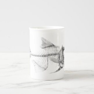 Vintage fish skeleton etching tea cup