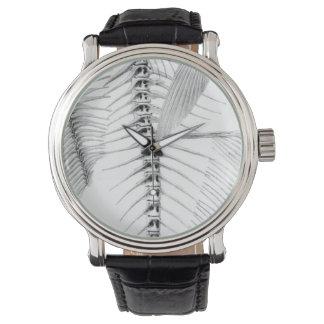 Vintage fish skeleton etching wrist watches