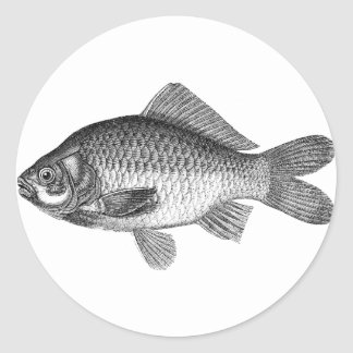 vintage fish stamps round sticker