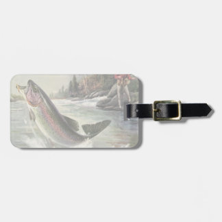 Vintage Fisherman Fishing Rainbow Trout Fish Tag For Luggage