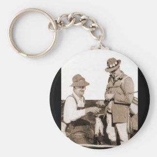 Vintage Fishermen Basic Round Button Key Ring