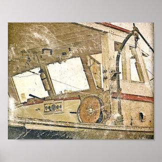 Vintage Fishing Boat Nautical Poster