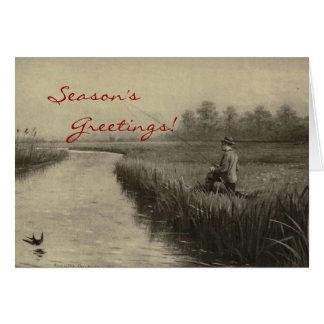 Vintage Fishing Christmas Card
