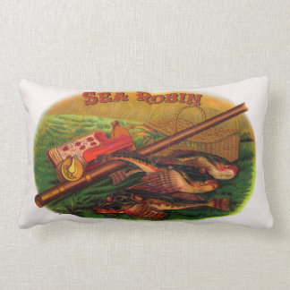 Vintage Fishing Gear Cigar Label Art, Sea Robin Lumbar Cushion