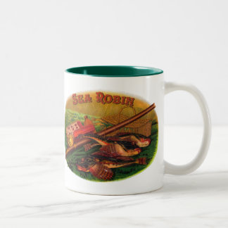 Vintage Fishing Gear Cigar Label Art, Sea Robin Two-Tone Coffee Mug