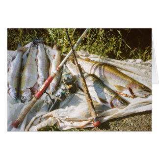 Vintage Fishing Poles and Trout Greeting Card