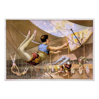 Vintage Five Male Trapeze Circus Performance Poster