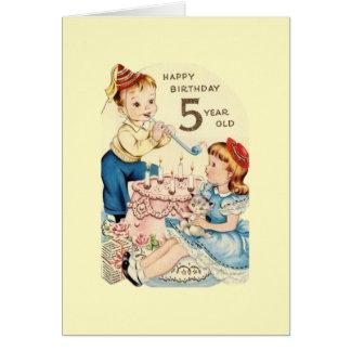 Vintage Five Year Old Birthday Card