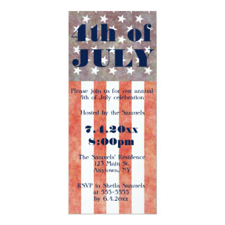 Vintage flag 4th of July party invitations