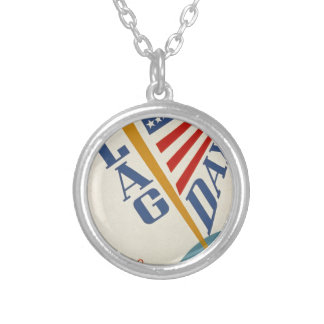 Vintage Flag Day Silver Plated Necklace