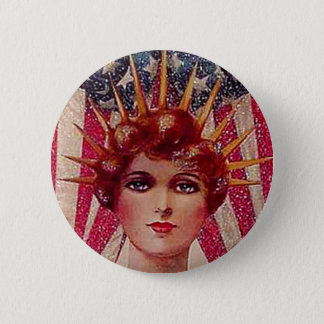 Vintage Flag Lady Liberty Patriotic July 4th 6 Cm Round Badge