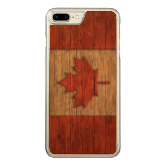 Vintage Flag of Canada Distressed Carved iPhone 8 Plus/7 Plus Case
