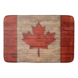 Vintage Flag of Canada Distressed Wood Design Bath Mats