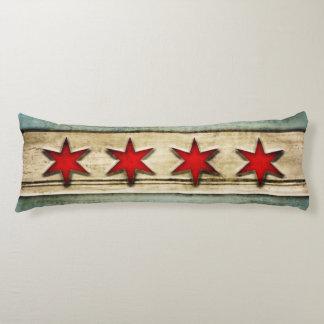 Vintage Flag of Chicago Carved Wood Design Body Pillow