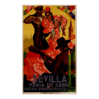 Vintage flamenco dancers Spanish Poster