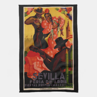 Vintage flamenco dancers Spanish Tea Towel