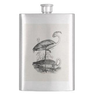 Vintage Flamingo Birds Tropical Flamingoes Bird Hip Flask