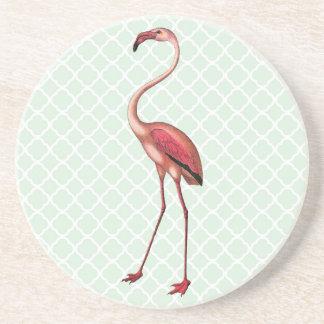 Vintage Flamingo with Mint Quatrefoil Background Coaster