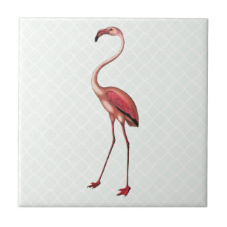 Vintage Flamingo with Mint Quatrefoil Background Tile