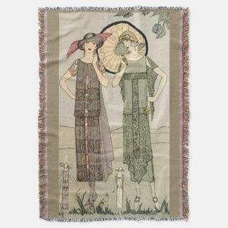Vintage Flapper Fashion Afghan Throw Blanket