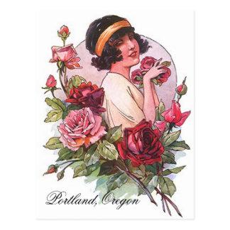 VINTAGE Flapper W Roses Portland OR POSTCARD