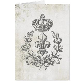 Vintage Fleur de Lis and Crown-notecard Card