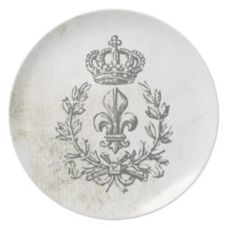 Vintage Fleur de Lis and Crown Plate