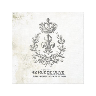 Vintage Fleur de Lis and crown stretched canvas