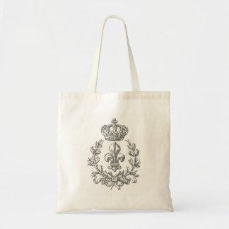 Vintage Fleur de Lis and Crown-tote bag