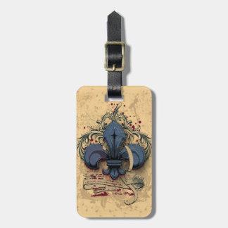 Vintage fleur-de-lis  blue metal grunge effects bag tag
