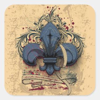 Vintage fleur-de-lis  blue metal grunge effects square sticker