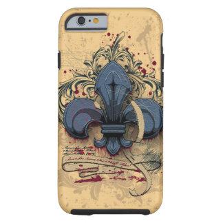 Vintage fleur-de-lis blue metal grunge effects tough iPhone 6 case