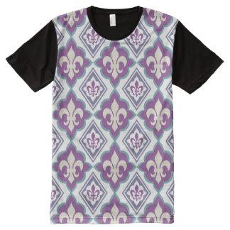 Vintage Fleur de Lis French Heraldic Pattern All-Over Print T-Shirt