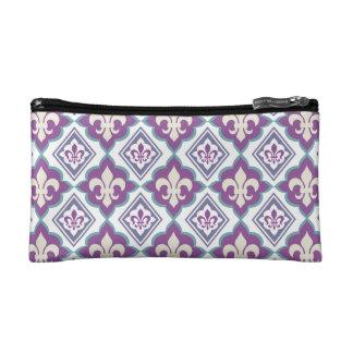 Vintage Fleur de Lis French Heraldic Pattern Cosmetic Bag