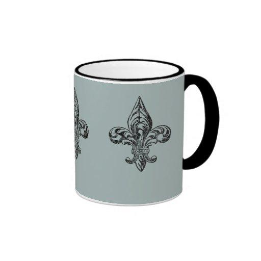 VIntage Fleur de Lis Mugs